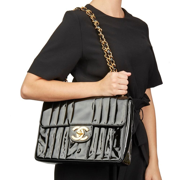 65a5b4947b2170 1994 Chanel Black Vertical Quilted Patent Leather Vintage Jumbo XL Flap Bag  For Sale 6