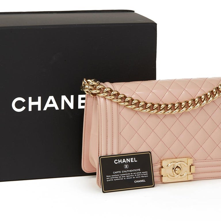 076011b35b31 2017 Chanel Light Pink Quilted Iridescent Calfskin Leather Medium Le Boy  For Sale 5