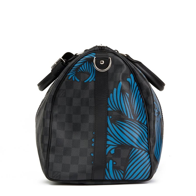 LOUIS VUITTON Graphite Damier Monogram Canvas Christopher Nemeth Blue Rope Keepall Bandouliere 45  Xupes Reference: HB2036 Serial Number: MB4116 Age (Circa): 2016 Accompanied By: Shoulder Strap, Handle Keeper Authenticity Details: Date Stamp (Made