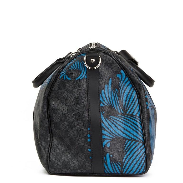 Black 2010s Louis Vuitton Graphite Damier Christopher Nemeth Keepall Bandouliere 45  For Sale