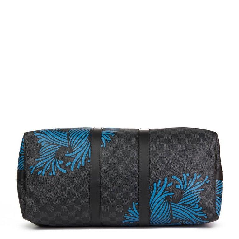 Women's or Men's 2010s Louis Vuitton Graphite Damier Christopher Nemeth Keepall Bandouliere 45  For Sale