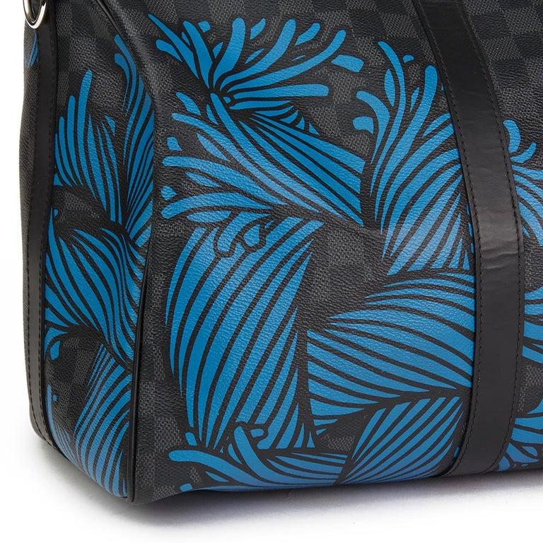2010s Louis Vuitton Graphite Damier Christopher Nemeth Keepall Bandouliere 45  For Sale 1