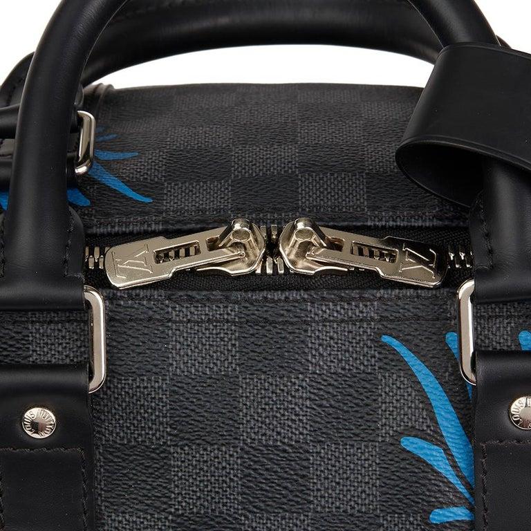 2010s Louis Vuitton Graphite Damier Christopher Nemeth Keepall Bandouliere 45  For Sale 2