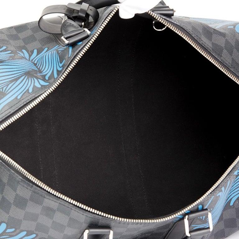 2010s Louis Vuitton Graphite Damier Christopher Nemeth Keepall Bandouliere 45  For Sale 4