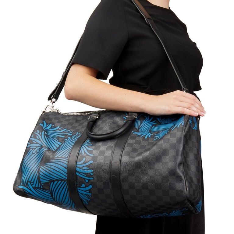 2010s Louis Vuitton Graphite Damier Christopher Nemeth Keepall Bandouliere 45  For Sale 6