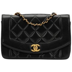1990s Chanel Black Quilted Lambskin Vintage Small Diana Classic Double Flap Bag