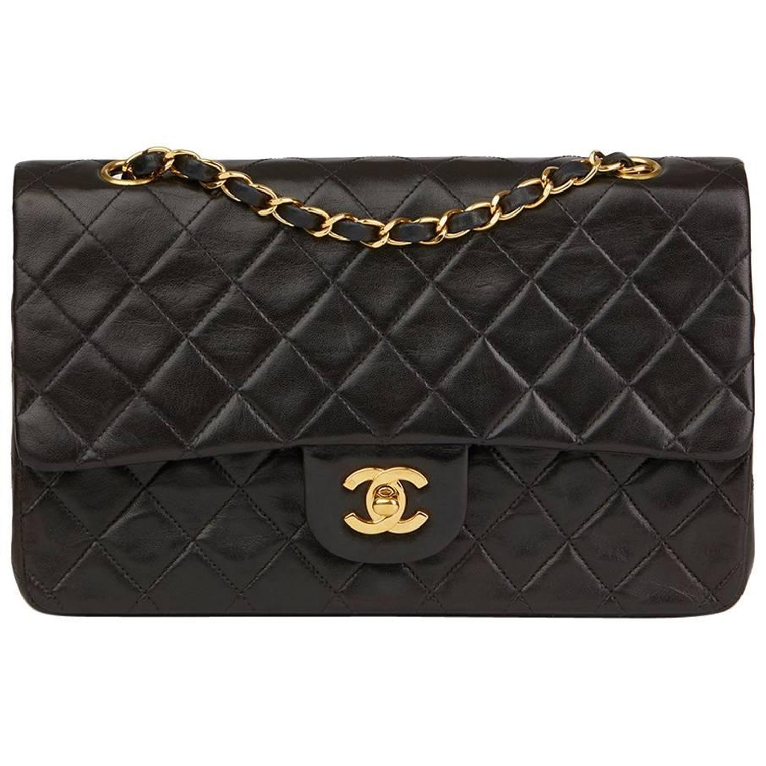 1997 Chanel Black Quilted Lambskin Vintage Small Classic Double Flap Bag at  1stdibs e7895b6cec6bf