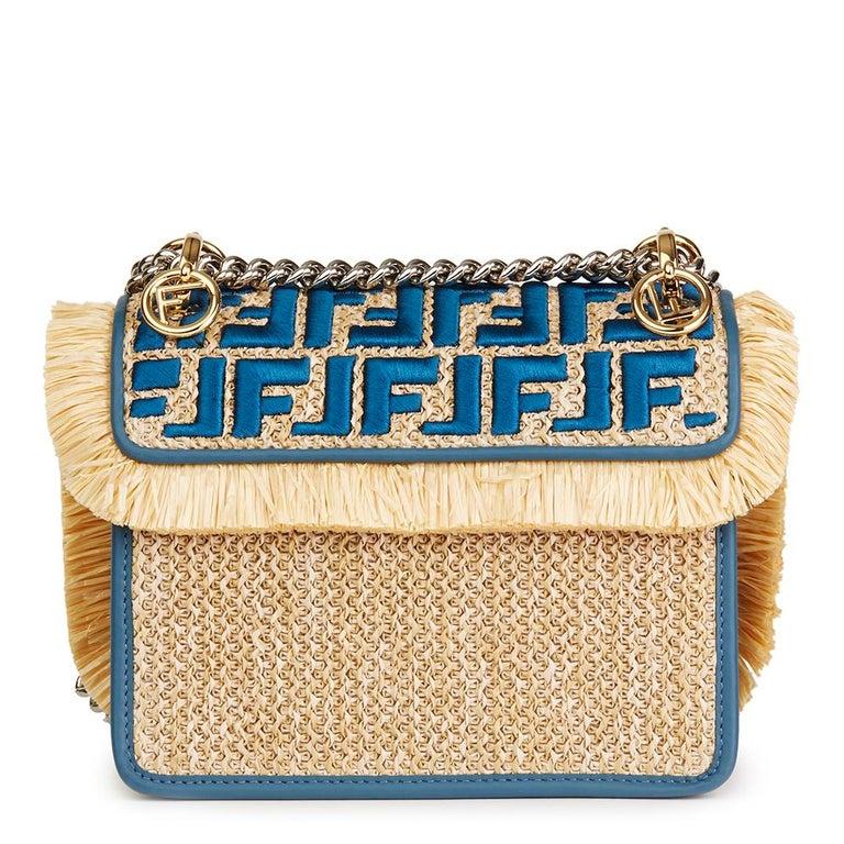 3db39351a7ec Beige Fendi Blue Calfskin Leather and Embroidered Raffia Small Kan I F Bag  For Sale