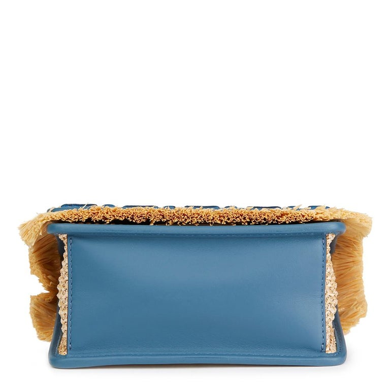 fa383430452a Fendi Blue Calfskin Leather and Embroidered Raffia Small Kan I F Bag In New  Condition For Sale