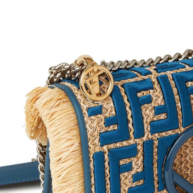84a9372f2cd5 Women s Fendi Blue Calfskin Leather and Embroidered Raffia Small Kan I F Bag  For Sale