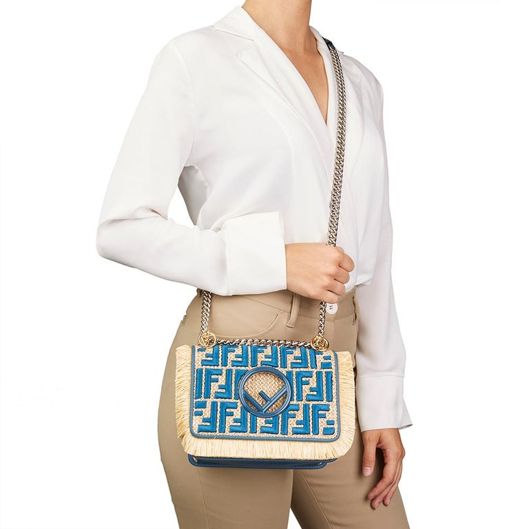 ca3ec0b83293 Fendi Blue Calfskin Leather and Embroidered Raffia Small Kan I F Bag For  Sale 5