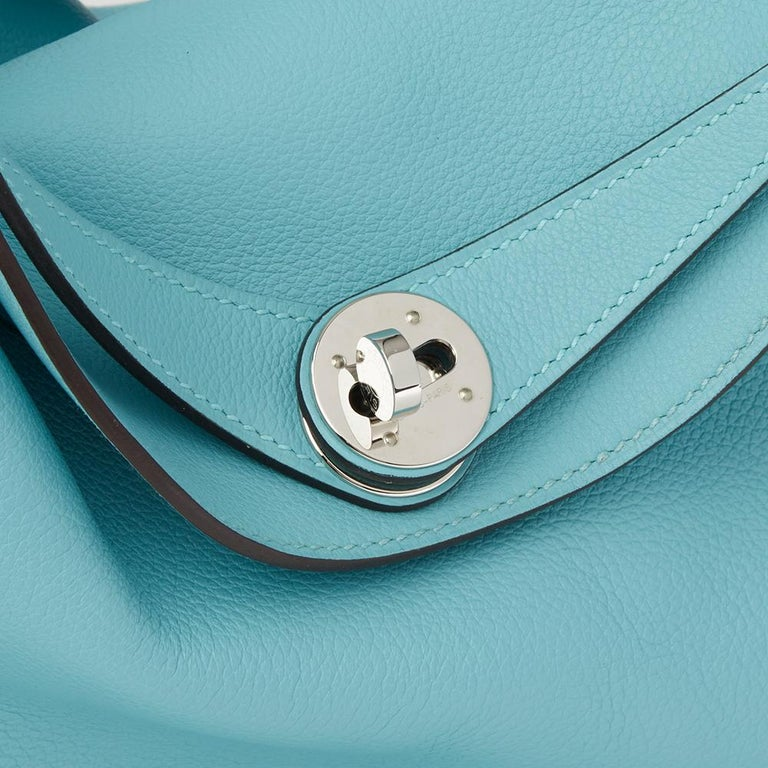 a7b361a8d4f8 Hermes Blue Atoll Evercolour Leather Lindy 26 Bag