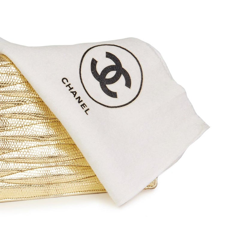 1991 Chanel Metallic Gold Wave Quilted Lizard Leather Vintage Timeless Clutch For Sale 5