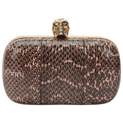 2010s Alexander McQueen Black and Pink Python Skull Box
