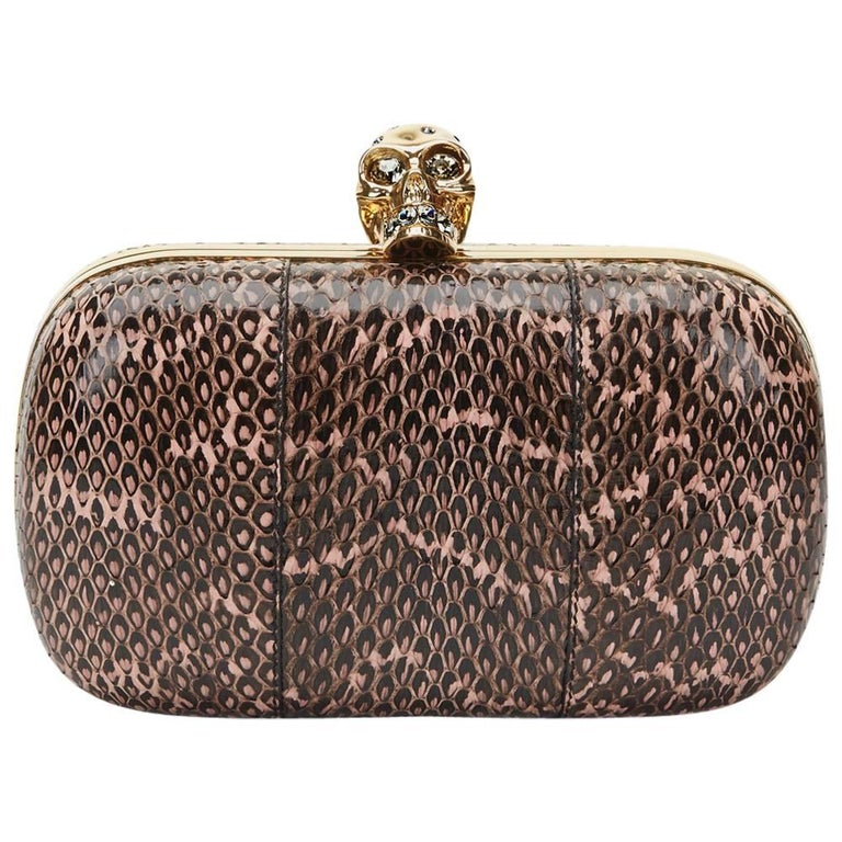 2010 Alexander McQueen Black and Pink Python Skull Box  For Sale