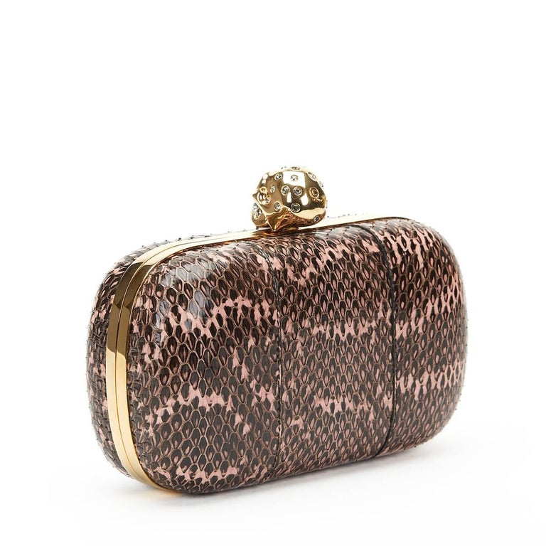 Women's 2010 Alexander McQueen Black and Pink Python Skull Box  For Sale