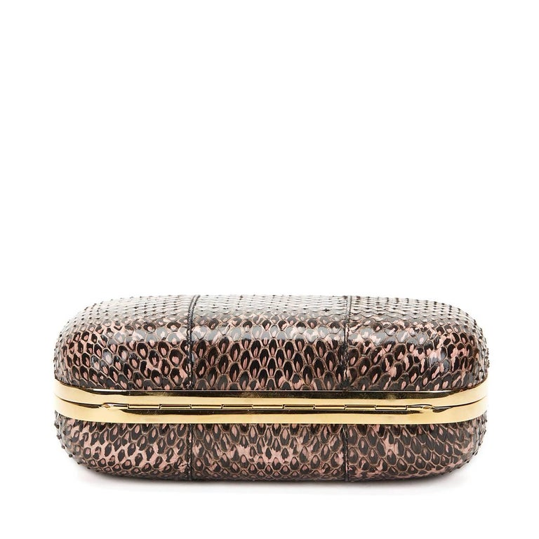 2010 Alexander McQueen Black and Pink Python Skull Box  For Sale 1