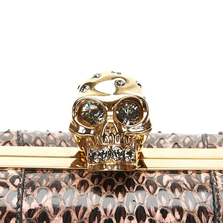2010 Alexander McQueen Black and Pink Python Skull Box  For Sale 2