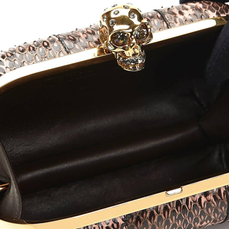 2010 Alexander McQueen Black and Pink Python Skull Box  For Sale 4