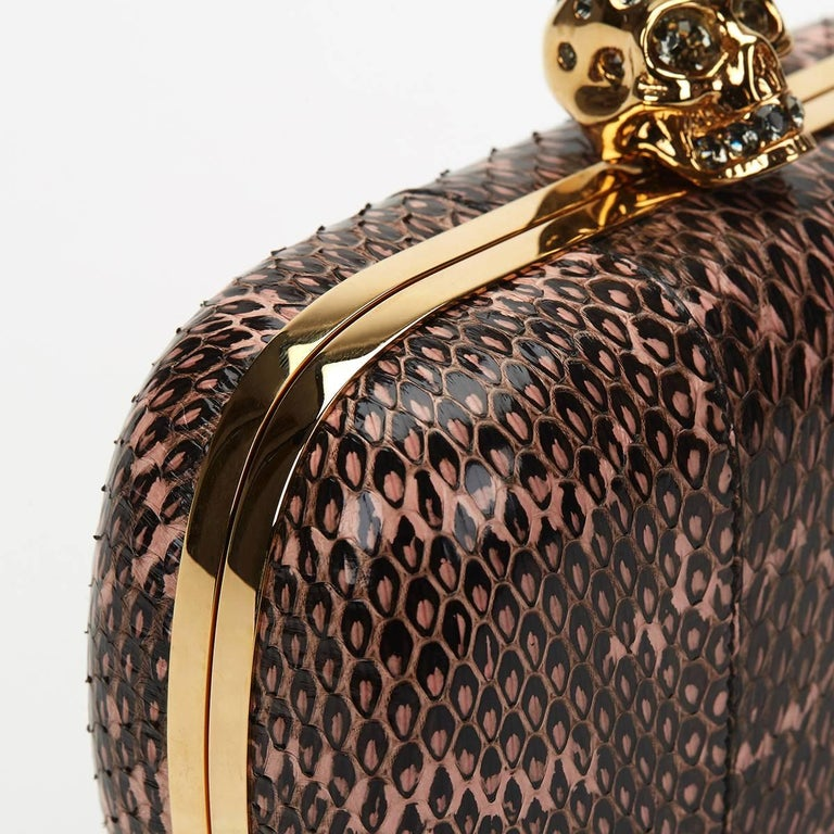 2010 Alexander McQueen Black and Pink Python Skull Box  For Sale 6