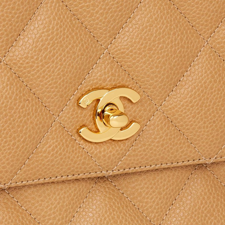 Women's 1994 Chanel Beige Quilted Caviar Leather Vintage Classic Camera Bag For Sale