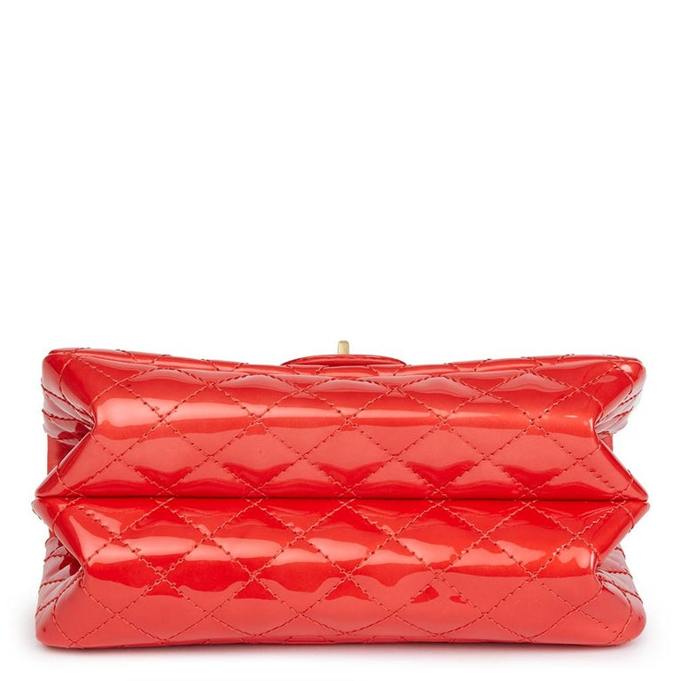 Women's 2008 Chanel Red Quilted Patent Leather 2.55 Reissue 225 Accordion Flap Bag For Sale