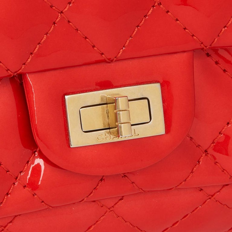 2008 Chanel Red Quilted Patent Leather 2.55 Reissue 225 Accordion Flap Bag For Sale 1