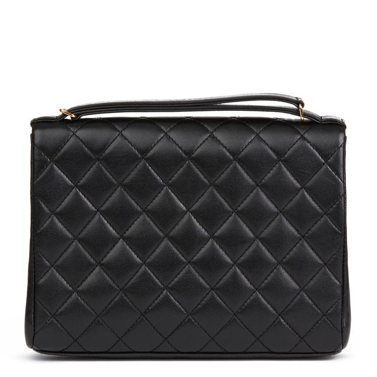 Women's 1997 Chanel  Black Quilted Lambskin Vintage Classic Top Handle Clutch  For Sale