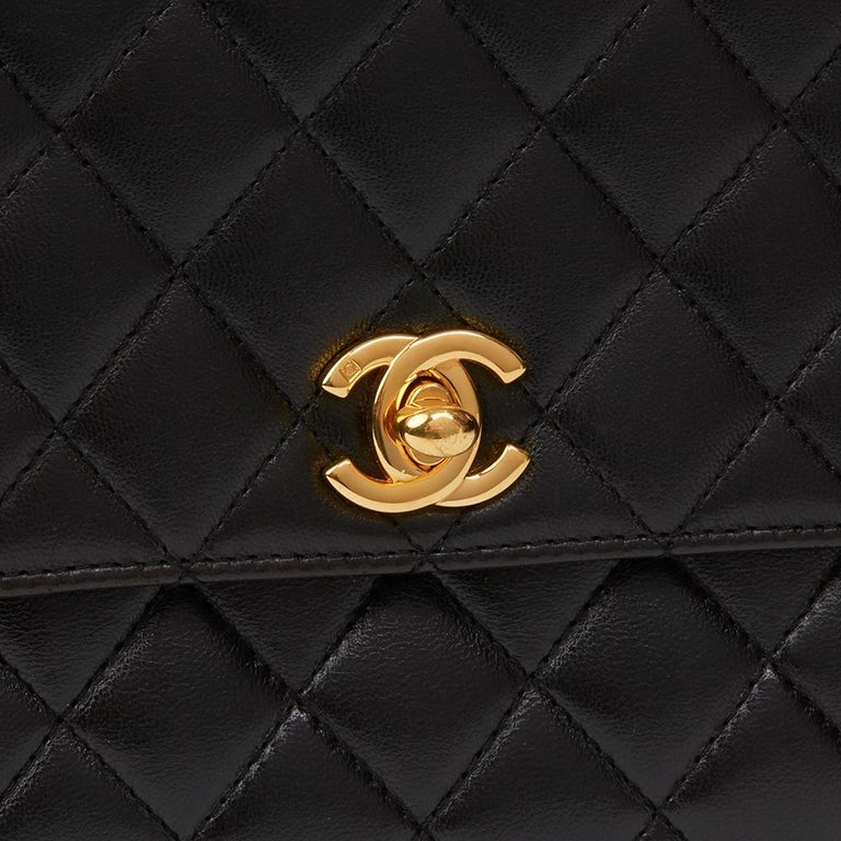 1997 Chanel  Black Quilted Lambskin Vintage Classic Top Handle Clutch  For Sale 1