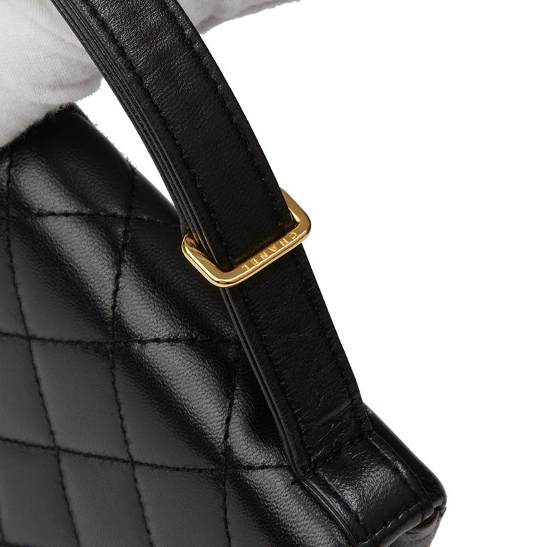 1997 Chanel  Black Quilted Lambskin Vintage Classic Top Handle Clutch  For Sale 2