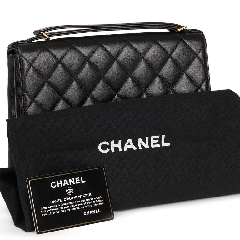 1997 Chanel  Black Quilted Lambskin Vintage Classic Top Handle Clutch  For Sale 5