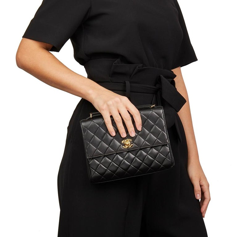 1997 Chanel  Black Quilted Lambskin Vintage Classic Top Handle Clutch  For Sale 6