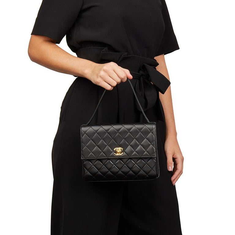 1997 Chanel  Black Quilted Lambskin Vintage Classic Top Handle Clutch  For Sale 7
