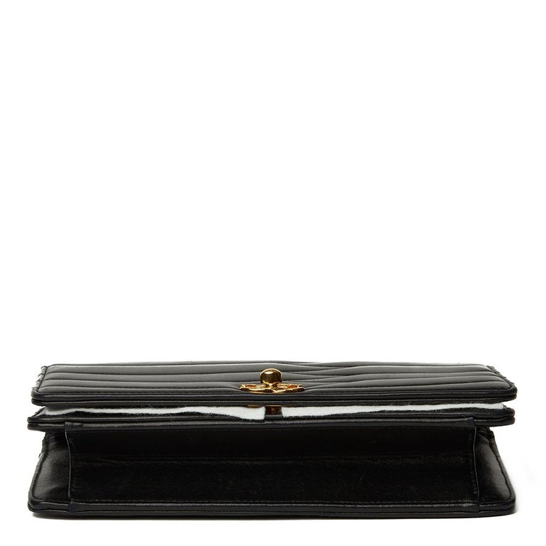 1992 Chanel Black Wave Quilted Lambskin Vintage Classic Clutch For Sale 1