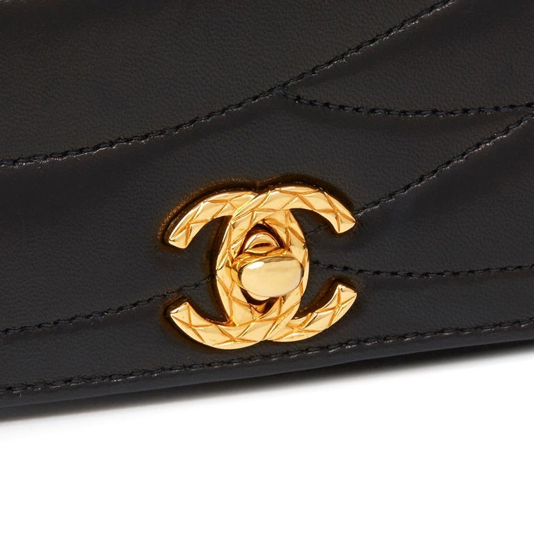 1992 Chanel Black Wave Quilted Lambskin Vintage Classic Clutch For Sale 2
