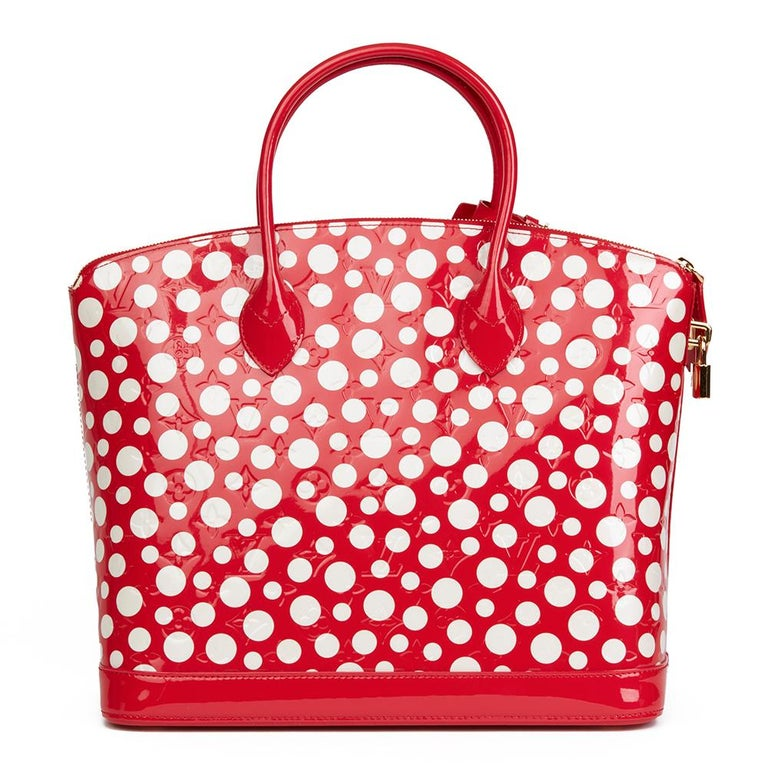 Women's 2012 Louis Vuitton Red Vernis Leather Dots Infinity Yayoi Kusama Lockit MM For Sale