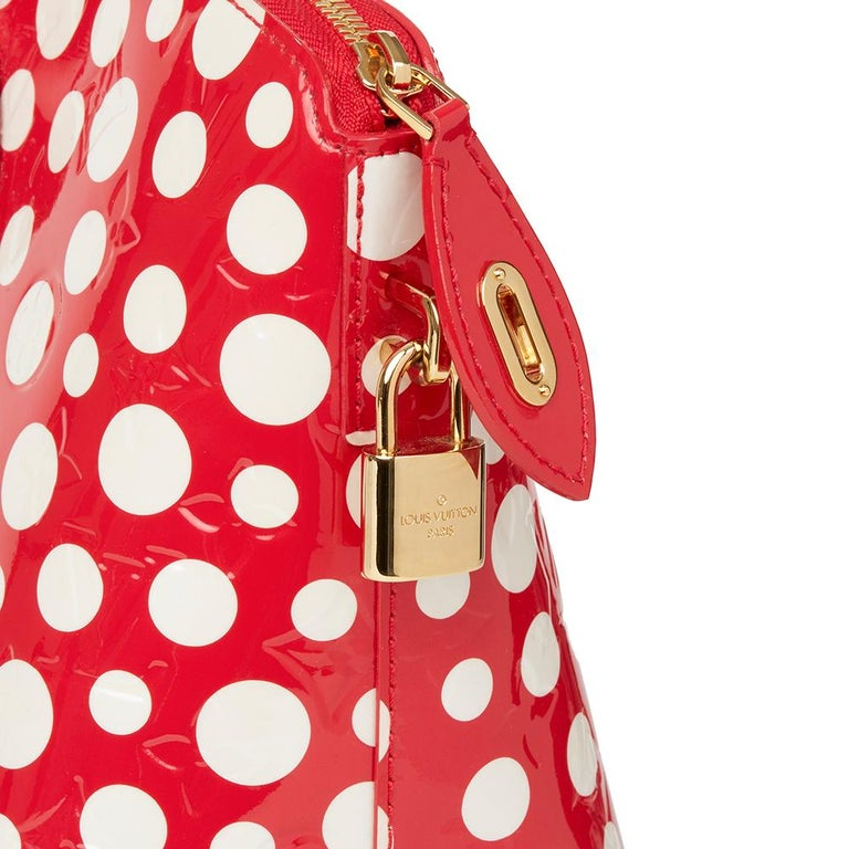 2012 Louis Vuitton Red Vernis Leather Dots Infinity Yayoi Kusama Lockit MM For Sale 2