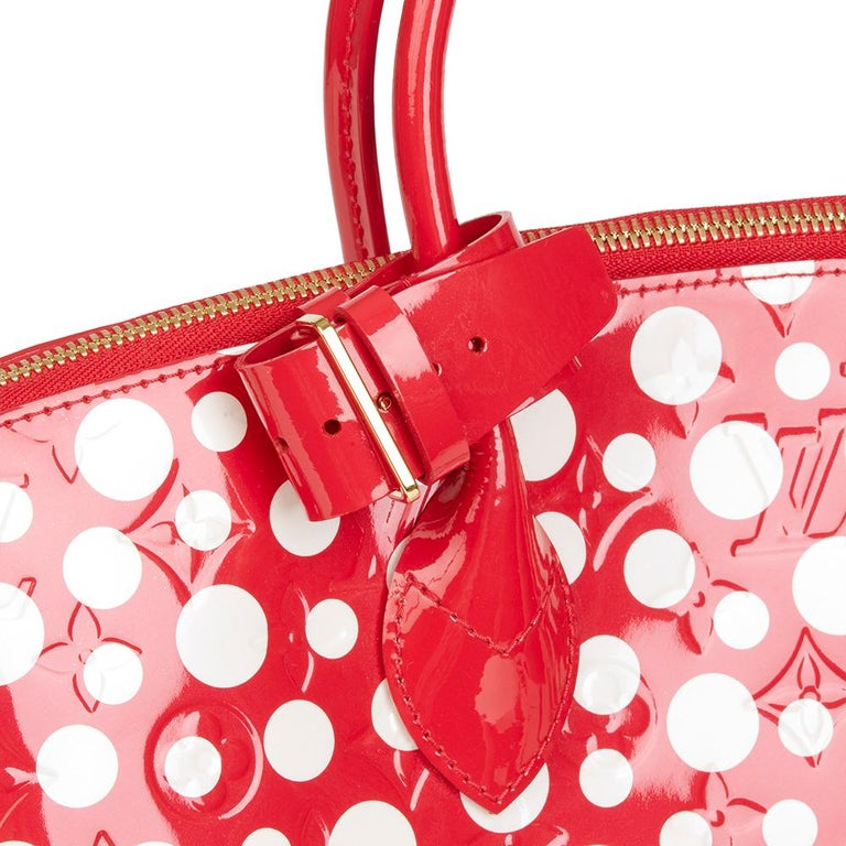 2012 Louis Vuitton Red Vernis Leather Dots Infinity Yayoi Kusama Lockit MM For Sale 3