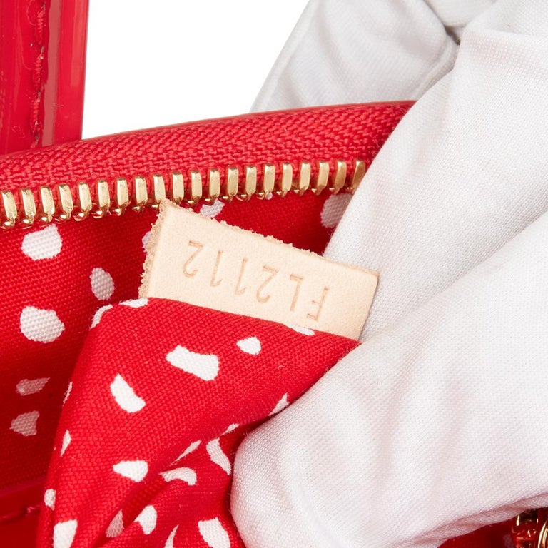 2012 Louis Vuitton Red Vernis Leather Dots Infinity Yayoi Kusama Lockit MM For Sale 4