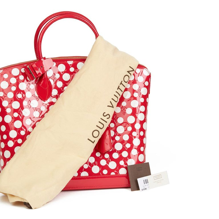 2012 Louis Vuitton Red Vernis Leather Dots Infinity Yayoi Kusama Lockit MM For Sale 6