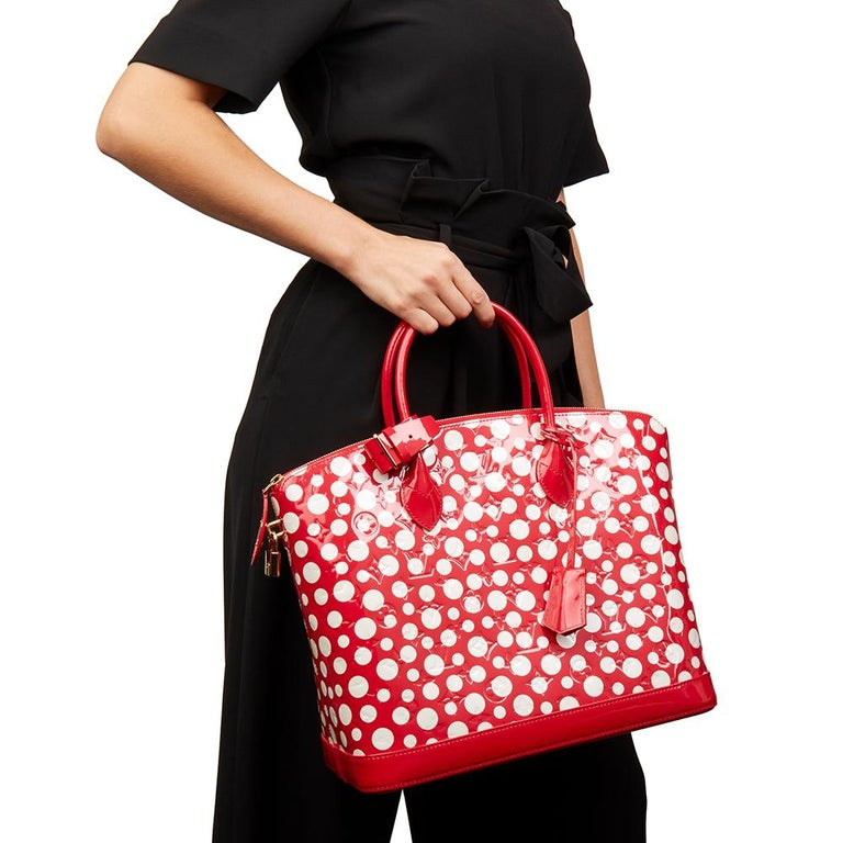 2012 Louis Vuitton Red Vernis Leather Dots Infinity Yayoi Kusama Lockit MM For Sale 7