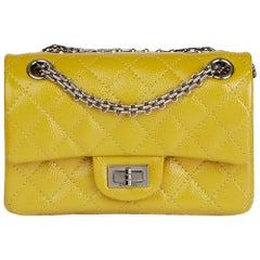 2014 Chanel Chartreuse Patent Caviar Leather 2.55 Reissue 224 Double Flap Bag