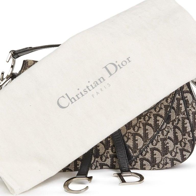 2002 Christian Dior Black Monogram Canvas Double Saddle Bag For Sale ... 4791242dde33d