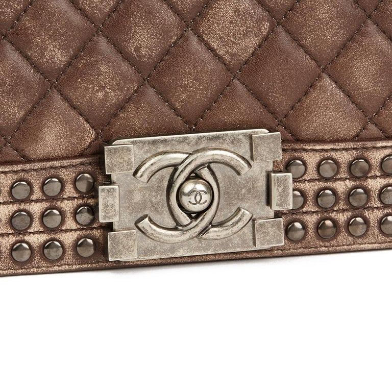 Chanel Brown Quilted Studded Distressed Lambskin New Medium Le Boy Bag, 2014  For Sale 1