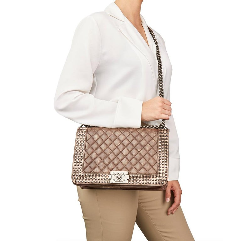 Chanel Brown Quilted Studded Distressed Lambskin New Medium Le Boy Bag, 2014  For Sale 6