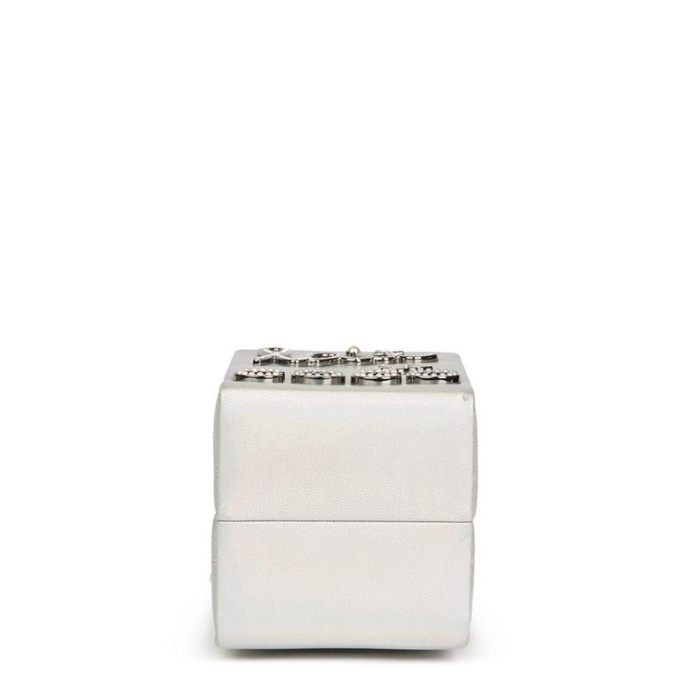 214c7340b34b Chanel Silver Iridescent Goatskin Leather Lait De Coco Milk Carton Bag,  2010s For Sale 1