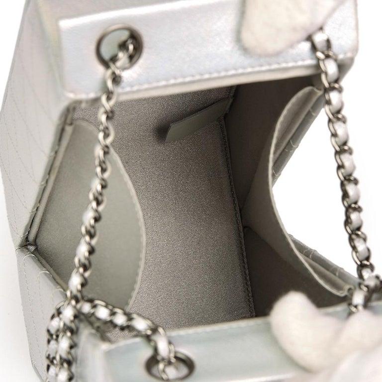 Chanel Silver Iridescent Goatskin Leather Lait De Coco Milk Carton ... 6ac9e240f