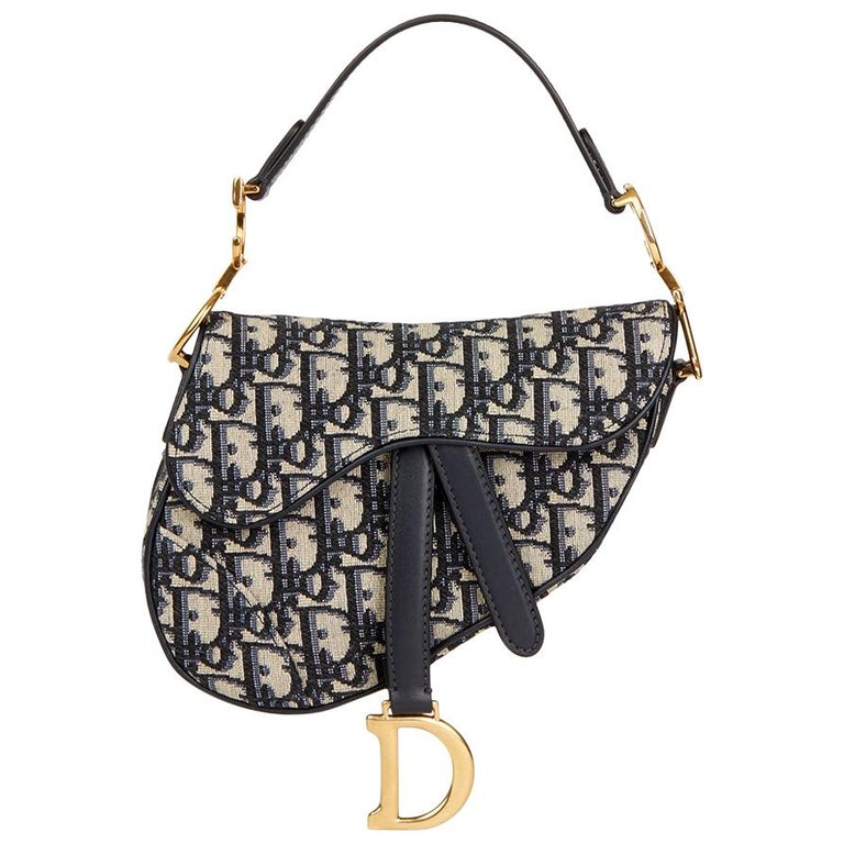 adad81dc8fea 2018 Christian Dior Blue Oblique Monogram Canvas Mini Saddle Bag at 1stdibs