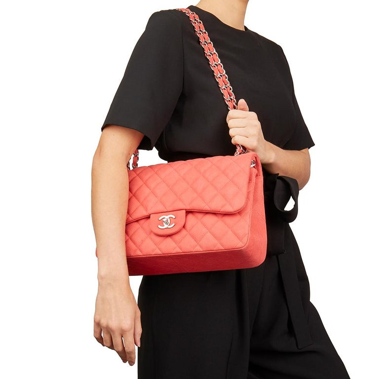 f5ad81f3b104 2014 Chanel Pink Quilted Caviar Suede Leather Jumbo Classic Double Flap Bag  For Sale 7