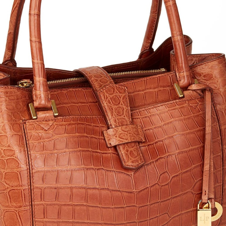Loro Piana Autumn Leaves Matte Crocodile Leather Bellevue Media, 2000  For Sale 2